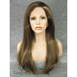 Kanekalon Wig. Straight Long Chestnut Highlighted Wig