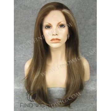 Kanekalon Wig. Straight Long Chestnut Highlighted Wig