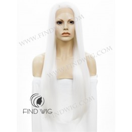 Straight Platinum Blonde Extra Long Lace Front Wig