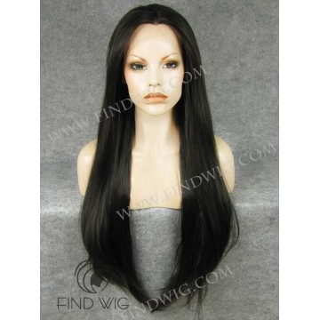Lace Front Wig. Straight Chestnut Super Long Wig
