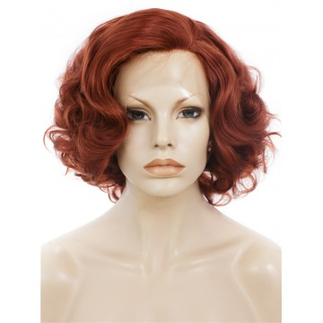 Kanekalon Lace Front Wig. Curly Short Red Wig