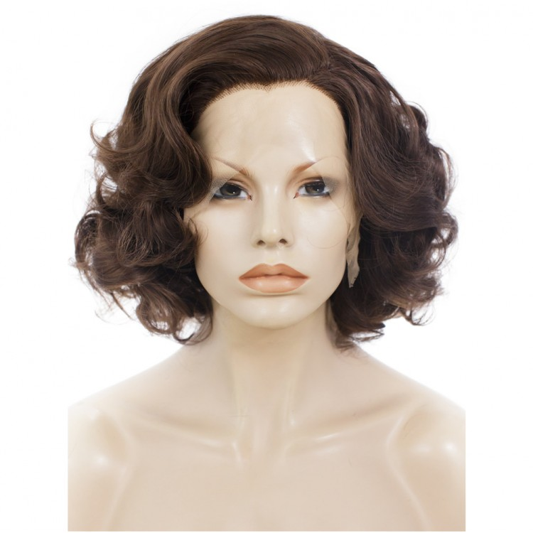 Lace Front Wig Curly Short Dark Brown Wig Fine Quality Lace Wigs Online