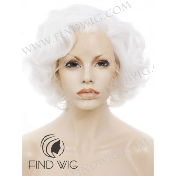 Curly Platinum Blonde Short Lace Cosplay Wig. Marilyn Monroe Wig