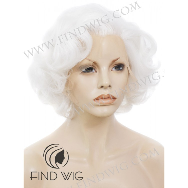 Curly Platinum Blonde Short Lace Cosplay Wig Marilyn Monroe Wig Fine Quality Lace Wigs