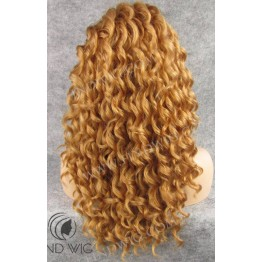 Curly Gold Blonde Medium Long Lace Front Wig