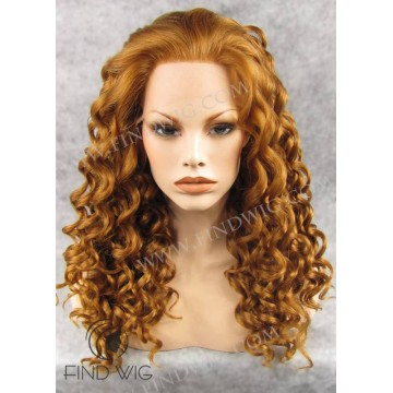 Lace Front Wig. Curly Gold Blonde Medium Long Wig