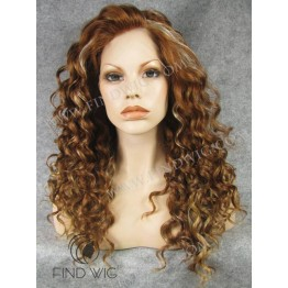 Kanekalon Wig. Curly Chestnut Highlighted Long Wig