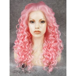 Drag Lace Front. Wig Curly Pink Long Wig. New Style Wig