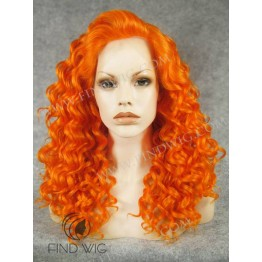 Drag Lace Wig. Curly Orange Medium Long Wig