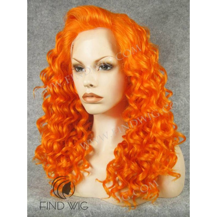 Drag Lace Wig Curly Orange Medium Long Wig Halloween Wigs