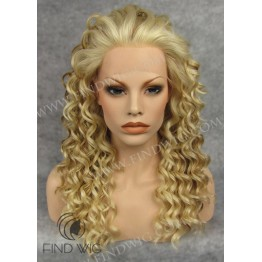 Lace Front Wig. Curly Highlighted Blonde Long Wig. Wigs Online