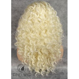 Curly Blonde Medium Long Lace Front Wig