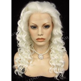 Kanekalon Wig. Curly Platinum Blonde Long Wig