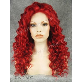 Drag Lace Wig. Curly Bright Red Medium Long Wig