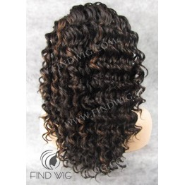 Lace Front Wig. Curly Brown Highlighted Lace Wig