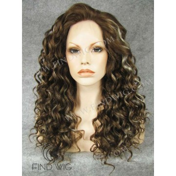 Lace Front Wig. Curly Chestnut Highlighted Long Wig