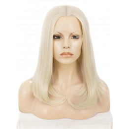 Lace Front Partial Wig. Straight Blonde Medium Long Wig