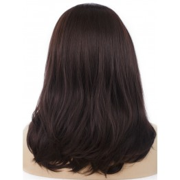 Lace Front Partial Wig. Straight Dark Red / Chestnut Medium Long Wig