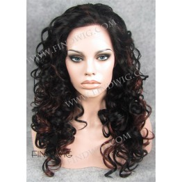 Curly Black Highlighted Long Lace Front Wig