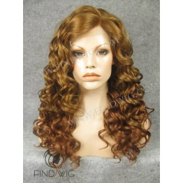 Lace Front Wig. Curly Gold Blonde / Ginger Long Wig