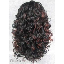 Kanekalon Wig. Curly Black Highlighted Long Wig