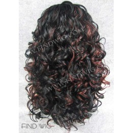 Kanekalon Wig. Curly Black Highlighted Long Wig