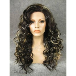 Curly Brown Highlighted Long Lace Front Wig
