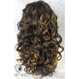 Kanekalon Wig. Curly Brown Highlited Long Wig