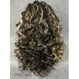 Lace Front Wig. Curly Brown Highlighted Long Wig. Online Wigs Store