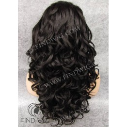 Curly Dark Brown Long Lace Front Wig