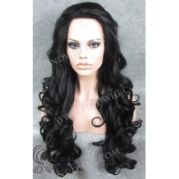 Lace Front Wig. Wavy Black Long Wig