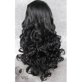 Kanekalon Wavy Black Long Lace Front Wig