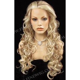 Wavy Blonde Highlighted Long Lace Front Wig