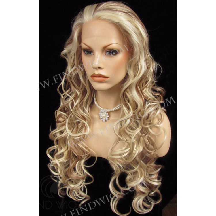 Highlighted Wig Wavy Blonde Highlighted Long Wig Wigs Online