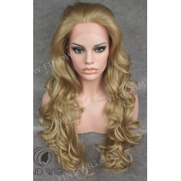 Lace Front Wig. Wavy Blonde Ash-Grey Long Wig