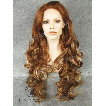Highlighted Wavy Straw Ginger Blond Long Lace Front Wig