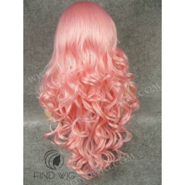 Lace Front Wig For Show. Wavy Pink Long Lace Wig