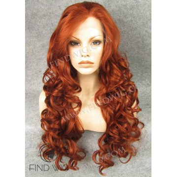 Lace Front Wig. Wavy Red / Ginger Long Wig. Jessica Rabbit Wig
