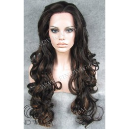 Lace Front Wig. Wavy Brown Highlighted Long Wig