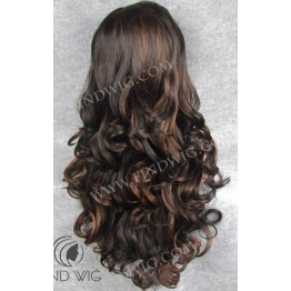 Highlighted Wig. Wavy Brown Long Highlighted Wig