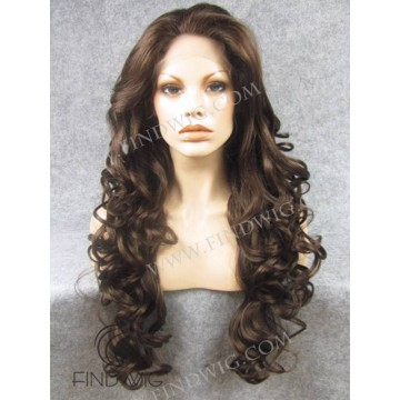 Lace Front Wig. Wavy Chestnut Long Wig. Wigs Online