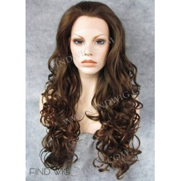 Lace Front Wig. Wavy Chestnut Long Wig