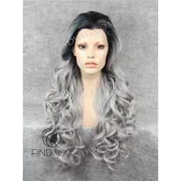 Lace Front Wig. Wavy Blonde Ash Grey Long Wig With Dark Roots