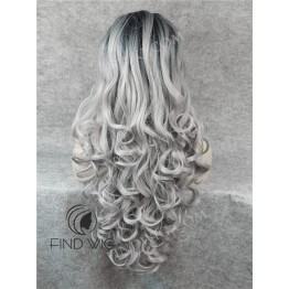 Lace Front Wig. Wavy Ash Blonde Long Wig With Dark Roots