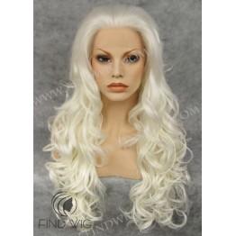 Kanekalon Wavy Platinum Blonde Long Lace Front Wig