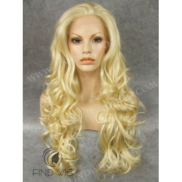 Lace Front Wig. Wavy Blonde Long Wig