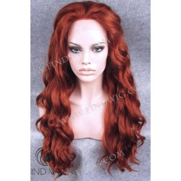 Lace Front Wig. Wavy Red Ginger Long Wig