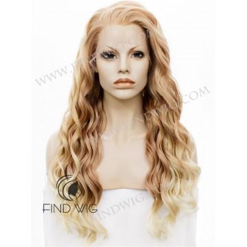 Wavy Peach Blond Long Wig. Kanekalon, Lace Front Wig