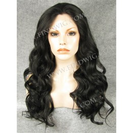 Lace Front Wig. Wavy Deep Dark Brown Long Wig