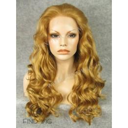 Kanekalon Lace Front Wig. Wavy Gold Blonde Long Wig
